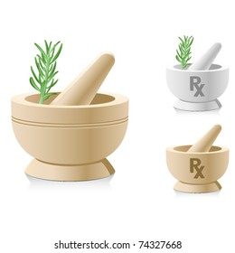 Mortar and pestle with RX symbol for medical prescriptions