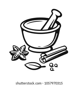 Mortar and Pestle with spices outline style. Vector illustration