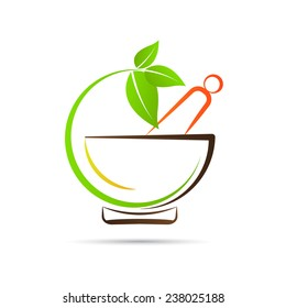 Mortar and pestle vector design represents herbal medicine, pharmacy logo, signs and symbols.