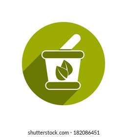Mortar and Pestle vector icon isolated.