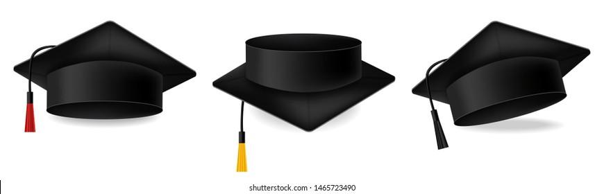 Mortarboard collection. Graduation cap set vector realistic illustration