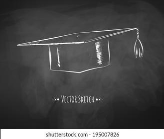 Mortarboard / graduation cap drawn on chalkboard. Vector art.