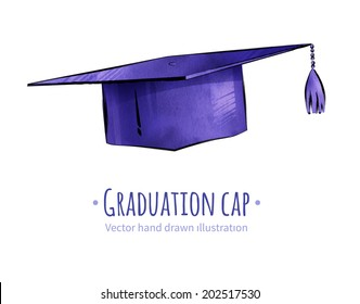 Mortarboard / graduation cap. Hand drawn vector illustration. isolated.