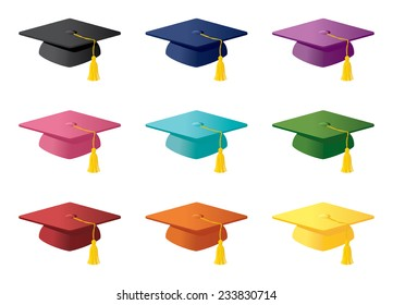 Mortarboards in a variety of colors.