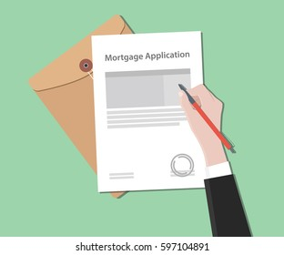 Mortgage application letter illustration with stamped document and folder document