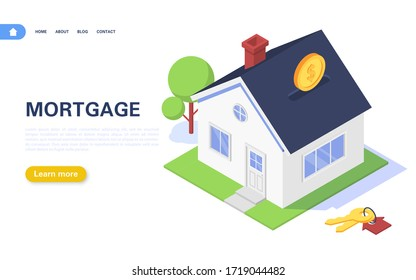 Mortgage banner concept. Residential building in the form of a piggy bank with coins on a white background. Real estate purchase and rental. Vector isometric illustration.