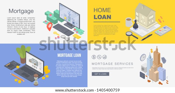 Mortgage Banner Set Isometric Set Mortgage Stock Vector Royalty Free 1405400759