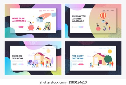 Mortgage and Buying House Concept Website Landing Page Templates Set. Borrower Making Payment for Real Estate Loan Agreement. Home Piggy Bank, Credit. Web Page Cartoon Flat Vector Illustration, Banner