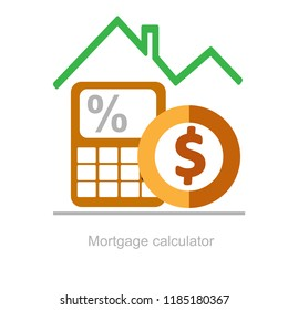 Mortgage calculator, down payment, annuity or mortgage, effective interest rate,  value of collateral, property valuation, flat in installments, conflict resolution, insurance coverage vector icon