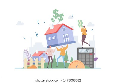 Mortgage Debt Pressure Vector Illustration Concept Showing a person having difficulties handling mortgage interest, Suitable for landing page, ui, web, App intro card, editorial, flyer, and banner.