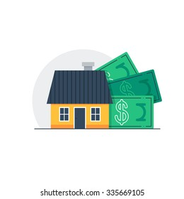 Mortgage down payment concept, property sale, household income, real estate investment. House cost, home budget and expenses, vector flat illustration