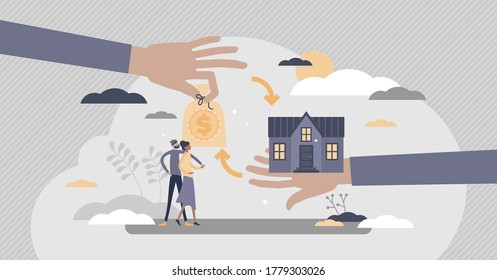 Mortgage financial bank instrument for new family house flat tiny persons concept. Couple loan for real estate purchase vector illustration. Abstract key exchange and agreement process visualization.