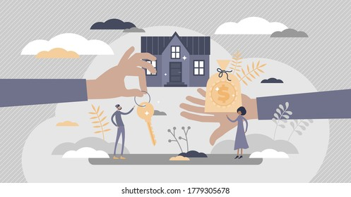 Mortgage as house property exchange for loan process flat tiny persons concept. Bank agreement for real estate purchase financial support vector illustration. Buy new home with money abstract scene.