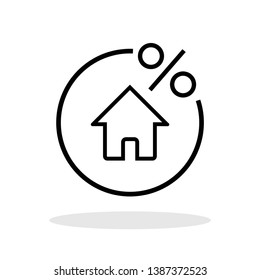 Mortgage icon in trendy flat style. Home percentage symbol for your web site design, logo, app, UI Vector EPS 10.