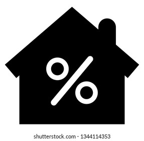 Mortgage icon. Vector icon of house with percent sign inside