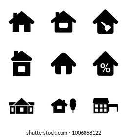 Mortgage icons. set of 9 editable filled mortgage icons such as home, house and tree, house, home key