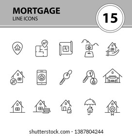 Mortgage line icon set. Floor plan, house, garage, cash. Home concept. Can be used for topics like property, insurance, real estate purchase