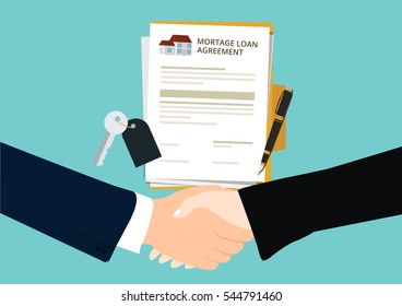 Mortgage loan agreement handshake concept of investment, risk and buying
