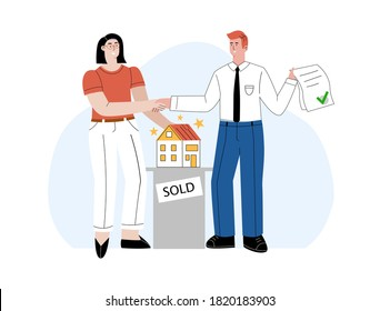 Mortgage loan application approval vector flat concept illustration. A happy woman is shaking hands with real estate agent. Confirmed house sale with approved bank credit form. Customer buying home.