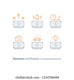Mortgage loan, buy house, car credit, vehicle purchase, money bundle, installment concept, finance service, down payment, time period, vector line icon set, thin stroke
