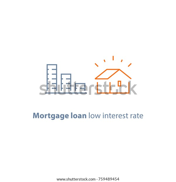 Mortgage Loan Down Payment Low Interest Stock Vector