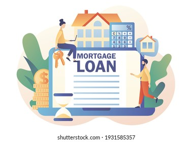 Mortgage loan online. Tiny people buying home and pay credit to bank use laptop. Investment money in real estate property. House concept. Modern flat cartoon style. Vector illustration
