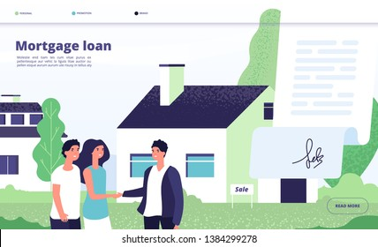 Mortgage loan. People borrower buy home property with bank credit. Young couple with broker, private house owner. Vector landing page
