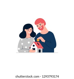 Mortgage loan vector illustration. Woman, man and small house