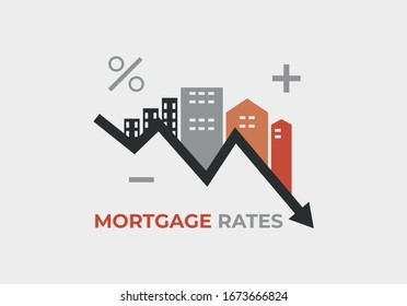 Mortgage rates dropping vector illustration
