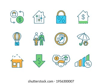 Mortgage RGB color icons set. Home buying. Fixed-rate, adjustable-rate deal. Rent-to-own house. Balloon payment. Insurance. Homebuyer. Housing crisis. Military family. Isolated vector illustrations