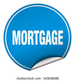 mortgage round blue sticker isolated on white