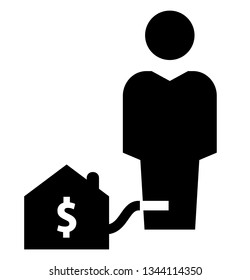Mortgage slavery icon. Vector icon of man chained with mortgage loan