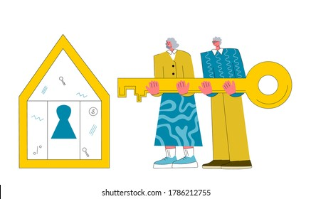 Mortgage vector illustration. Flat tiny house purchase debt persons concept. Buy real estate and pay credit to bank. Old couple