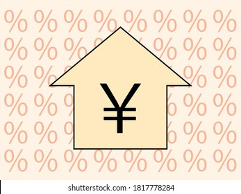 Mortgage vector image. Japanese yen mark.