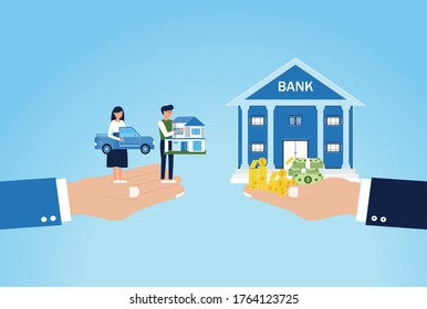 Mortgage,Vector illustration of man holding model house and woman holding the car with standing at the bank building for buying real estate or mortgage,Finance and Banking,Property money investment