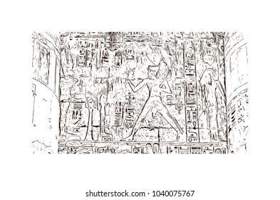 The Mortuary Temple of Ramesses III at Medinet Habu is an important New Kingdom period structure in the West Bank of Luxor in Egypt. Hand drawn sketch illustration in vector.