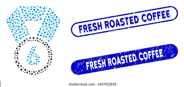 Mosaic 6th place medal and rubber stamp seals with Fresh Roasted Coffee caption. Mosaic vector 6th place medal is composed with randomized oval items. Fresh Roasted Coffee stamp seals use blue color,