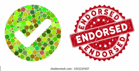Mosaic accept and grunge stamp seal with Endorsed caption. Mosaic vector is composed with accept icon and with random circle items. Endorsed stamp uses red color, and grunged design.