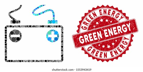 Mosaic accumulator battery and grunge stamp watermark with Green Energy phrase. Mosaic vector is created with accumulator battery icon and with scattered spheric items.