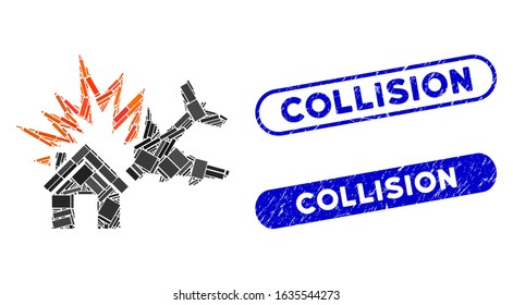 Mosaic aircraft house collision and corroded stamp seals with Collision text. Mosaic vector aircraft house collision is composed with randomized rectangle items. Collision stamp seals use blue color,