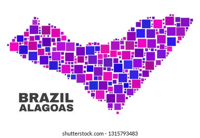 Mosaic Alagoas State map isolated on a white background. Vector geographic abstraction in pink and violet colors. Mosaic of Alagoas State map combined of random small squares.