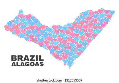Mosaic Alagoas State map of lovely hearts in pink and blue colors isolated on a white background. Lovely heart collage in shape of Alagoas State map. Abstract design for Valentine illustrations.