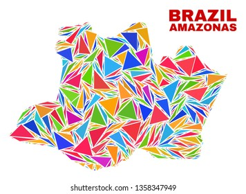 Mosaic Amazonas State map of triangles in bright colors isolated on a white background. Triangular collage in shape of Amazonas State map. Abstract design for patriotic purposes.