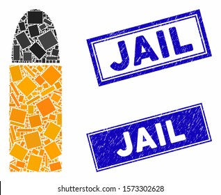 Mosaic ammo bullet icon and rectangle Jail seal stamps. Flat vector ammo bullet mosaic pictogram of scattered rotated rectangle items. Blue Jail seal stamps with distress textures.
