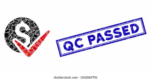 Mosaic approve payments and rubber stamp seal with Qc Passed phrase. Mosaic vector approve payments is composed with scattered rectangle items. Qc Passed stamp seal uses blue color.