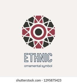 Mosaic arabic ornament. Vector circular emblem for ornamental design or logos