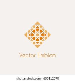 Mosaic arabic ornament. Vector rhombus emblem for luxury logos and retro ornamental design.