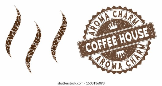 Mosaic aroma steam and grunge stamp watermark with Aroma Charm Coffee House phrase. Mosaic vector aroma steam is created with seeds. Aroma Charm Coffee House stamp uses brown color.