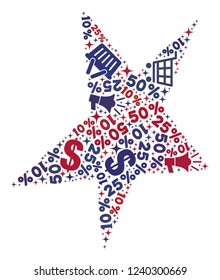 Mosaic asymmetrical star designed with blue and red shopping symbols. Retail composition of mosaic asymmetrical star icon. Flat design for shopping purposes.