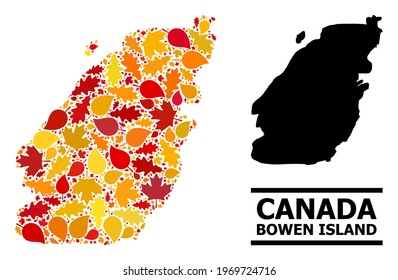 Mosaic autumn leaves and usual map of Bowen Island. Vector map of Bowen Island is created with random autumn maple and oak leaves. Abstract territorial plan in bright gold, red,